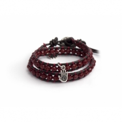 Red Wrap Bracelet For Woman - Crystals Onto Dark Brown Leather