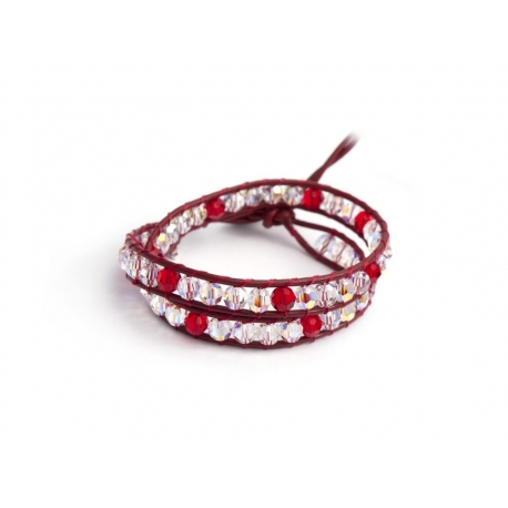 Red Tones Wrap Bracelet For Woman. Swarovski Crystals Onto Fire Red Leather And Swarovski Button