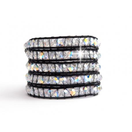 Bracciale 5 giri cristalli Swarovski con bottone Swarovski