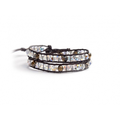 Brown Swarovski Crystals Wrap Bracelet For Woma. Worm Colors Onto Black Brown Leather And Swarovski Button
