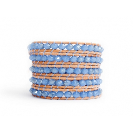 Blue Wrap Bracelet For Woman - Crystals Onto Natural Light Leather