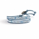 Swarovski Crystals Ab And Aquamarine Crystals Wrap Bracelet For Woman. Blu Sky Leather And Swarovski Button