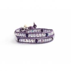 Bracciale viola cristalli Swarovski piccoli con bottone Swarovski