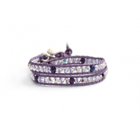 Iris Purple And Crystals Ab Swarovski Wrap Bracelet For Woman With Svarovski Button