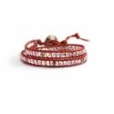 Apollo Gold Crystal Ab Wrap Bracelet For Woman. Crystals Onto Metallic Orange Leather And Swarovski Leather