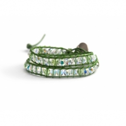 Swarovski Wrap Bracelet For Woman. Light Green Crystals Onto Metallic Light Green Leather And Swarovski Button