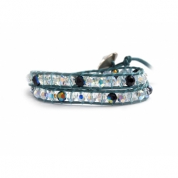 Indicolite Swarovski Crystals Wrap Bracelet For Woman. Ab And Green Crystals Ontoindicolite Leather And Swarovski Button