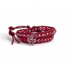 Red Wrap Bracelet For Woman - Crystals Onto Light Red Leather And Silver Charm