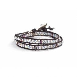 Brown Crystals And Crystal Ab Swalovski Beaded Wrap Bracelet For Woman