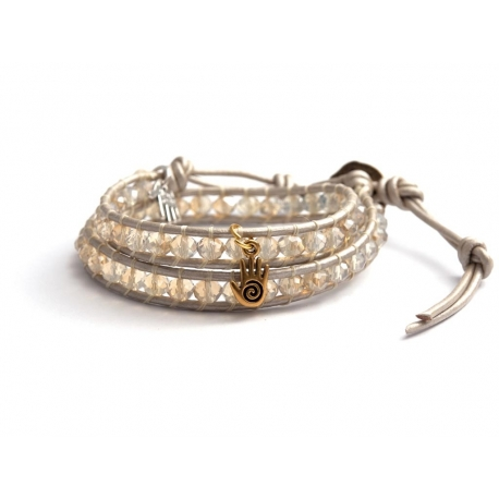 White Wrap Bracelet For Woman - Crystals Onto Pearl Leather