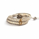 White Wrap Bracelet For Woman - Crystals Onto Pearl Leather And Charm