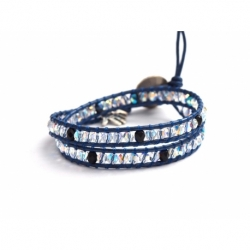 Crystal Ab And Jet Swarovskiwrap Bracelet For Woman. Blue Tones Onto Metalli Blue Leatherand Swarovski Button