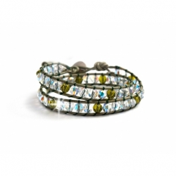 Olivive Swarovski Crystals Wrap Bracelet For Woman. Green Crystals Onto Dark Green Leathr