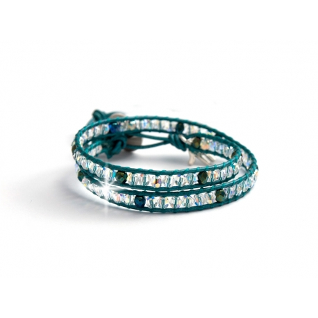 Iris Green Crystal Ab Swarovski Beaded Wrap Bracelet For Women