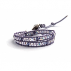 Purple Crystal Wrap Bracelet For Woman. Crystal Ab Swarovski Beaded Bracelet Onto Purple Leather And Swarovski Button
