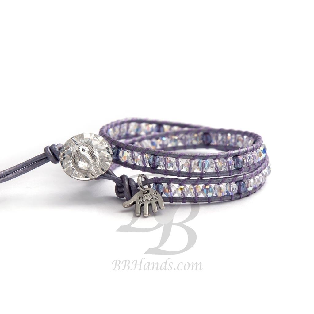 Purple Crystal Wrap Bracelet For Woman Ab Swarovski Beaded Onto Leather And On