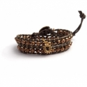 Gold Wrap Bracelet For Woman - Crystals Onto Bronze Leather And Charm