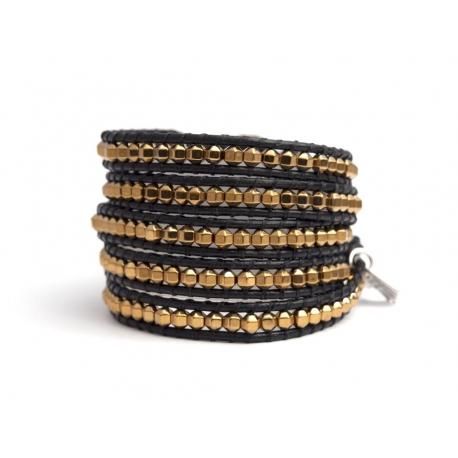 Gold Wrap Bracelet For Woman - Precious Stones Onto Black Leather