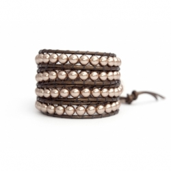 Almond Swarovski Wrap Bracelet For Woman. Sofisticated Color Pearl Onto Bronze Leatherpearls Onto Bronze Leather