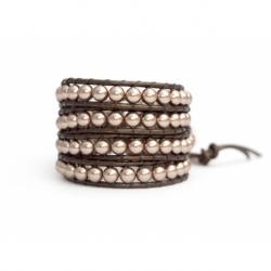 Almond Swarovski Wrap Bracelet For Woman. Sofisticated Color Pearl Onto Bronze Leatherpearls Onto Bronze Leather