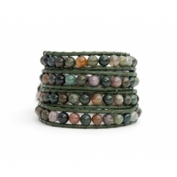 Green Wrap Bracelet For Woman - Precious Stones Onto Dark Brown Leather
