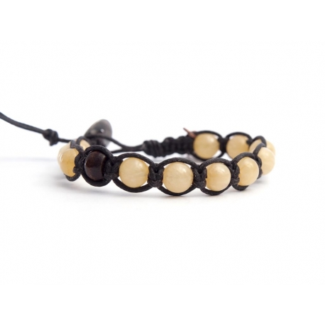 Yellow Natural Jade Tibetan Bracelet For Woman