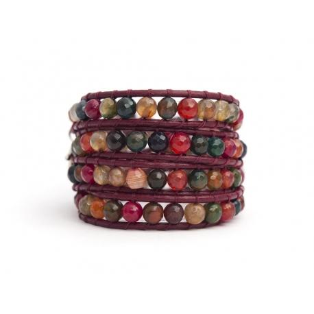 Mix Colored Wrap Bracelet For Woman - Precious Stones Onto Dark Green Leather