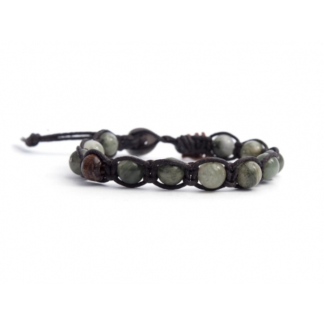 Moss Green Agate Tibetan Bracelet For Man