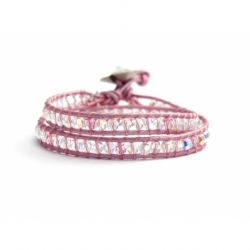 Light Pink Swarovski Crystals Wrap Bracelet For Woman. Metallic Light Pink Leather And Swarovski Button