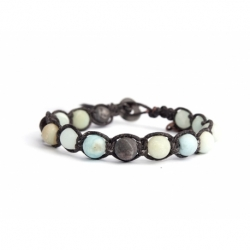 Multicolored Amazonite Matte Tibetan Bracelet For Man