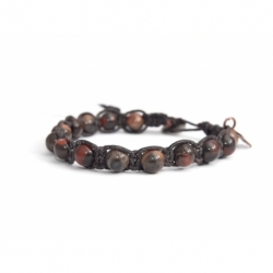 Black Jasper Polychrome Tibetan Bracelet For Man