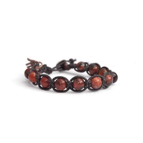 Red Jasper Polychrome Tibetan Bracelet For Man