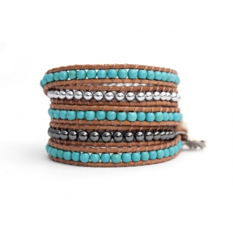 Mix Colored Wrap Bracelet For Woman - Precious Stones Onto White Leather