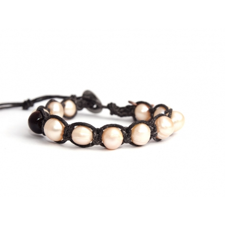Round Pink Freshwater Pearls Tibetan Bracelet For Woman