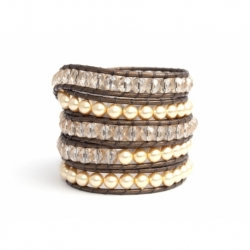 Gold Swarovsky Pearls And Crystals Wrap Bracelet For Woman Onto Bronze Leather