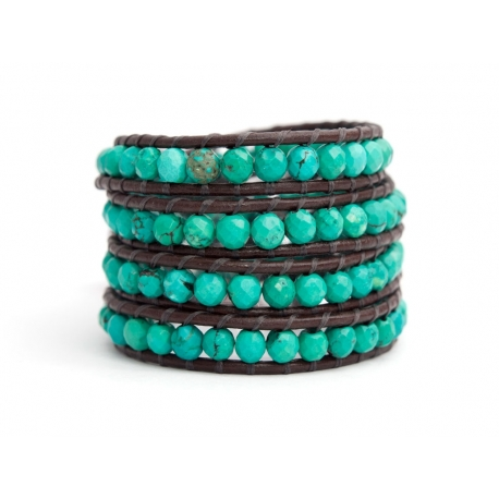 Turquoise Wrap Bracelet For Woman. Cut Turquoise Onto Dark Brown Leather