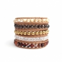 Mix Colored Wrap Bracelet For Woman - Precious Stones Onto Natural Dark Leather