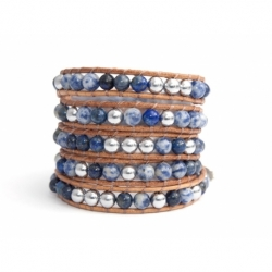 Blue Wrap Bracelet For Woman - Precious Stones Onto Natural Dark Leather