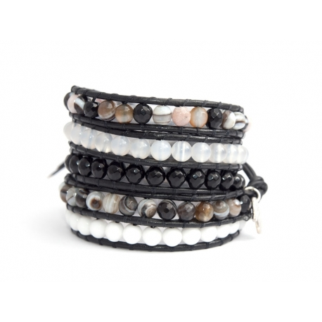 Mix Colored Wrap Bracelet For Woman - Precious Stones Onto Black Leather