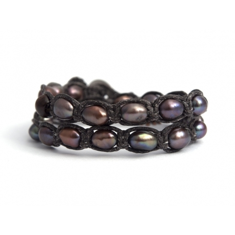 Black River Pearls Tibetan Bracelet For Woman