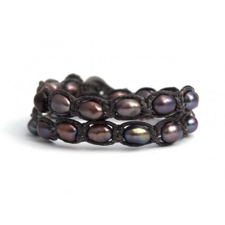 Bracciale tibetano donna perle nere