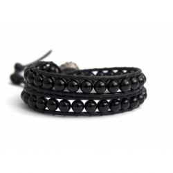 Black Wrap Bracelet For Woman - Precious Stones Onto Black Leather