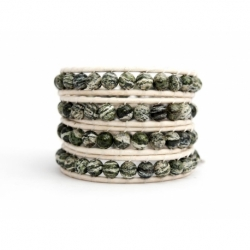 Green Wrap Bracelet For Woman - Precious Stones Onto Natural Light Leather