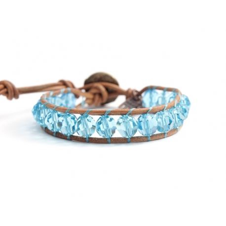 Turquoise Swarovski Wrap Bracelet For Woman Onto Natural Dark Leather