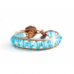 Turquoise Swarovski Wrap Bracelet For Woman Onto Caramel Leather