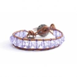 Purple Swarovski Wrap Bracelet For Woman. Swarovski Crystals Onto Natural Dark Leather