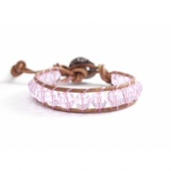 Pink Swarovski Wrap Bracelet For Woman. Swarovski Crystals Onto Natural Dark Leather