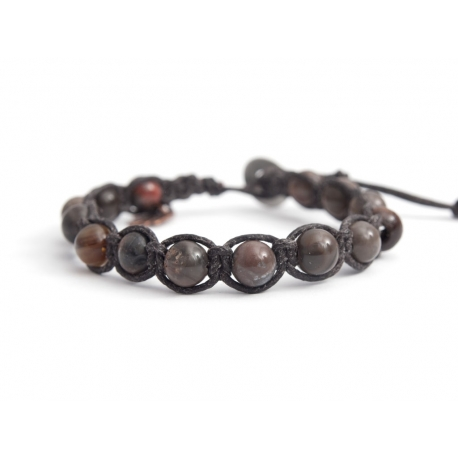 Dove-Gray Polychrome Jasper Tibetan Bracelet For Woman