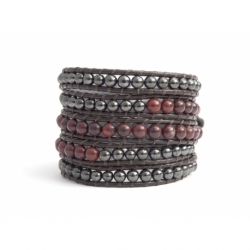 Black Wrap Bracelet For Woman - Precious Stones Onto Dark Brown Leather