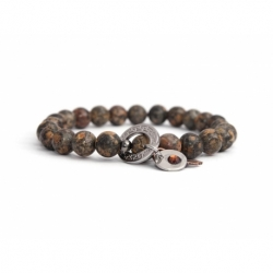 Leopard Skin Jasper Bead Bracelet For Man With Swarovski Strass And Steel Oval Charm